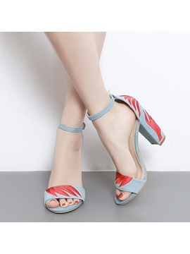 Denim Embroidery Color Block Heel Covering Womens Sandals