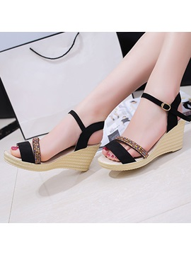 Faux Suede Line Style Buckle Rhinestone Wedge Sandals