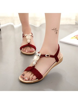 Faux Suede Elastic Band Flat Sandals For Women