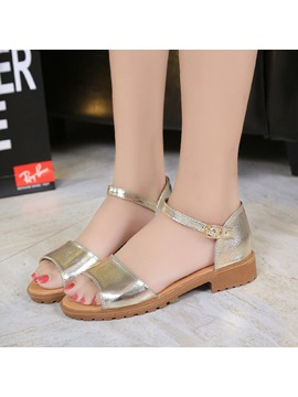 Pu Open Toe Heel Covering Womens Flat Sandals
