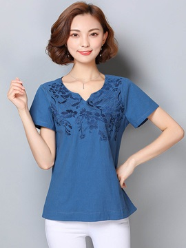 Loose Plain Embroidery T Shirt