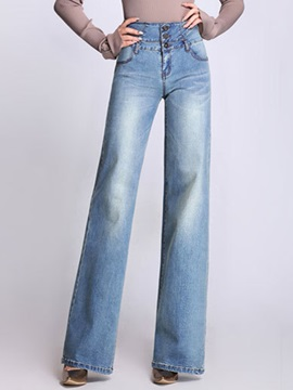High Waist Button Wide Legs Jeans