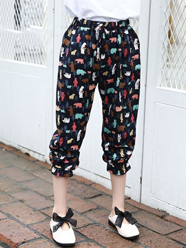 Floral Ninth Length Girls Pants
