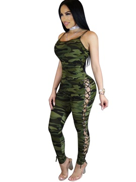 Skinny Camouflage Lace Up Jumpsuits