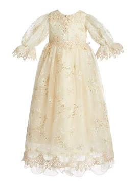 Luxury Lace Appliques Baptism Christening Gown For Girls