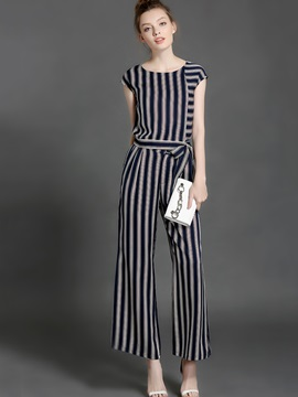 Stripe Round Neck T Shirt Wide Legs Pants 2 Piece Sets