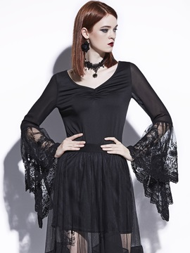 V Neck Lace Bell Sleeve T Shirt