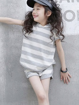 Simple Stripe With Hat 2 Piece Girls Outfit