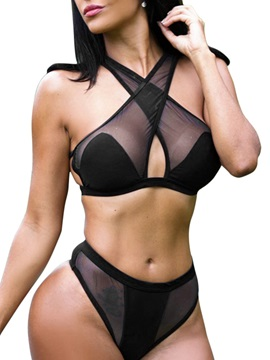 Black Sexy Hollow Bikini Set Swimwear