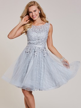 Scoop Neck Lace Up Appliques A Line Homecoming Dress