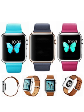 Solid Colorful Leather Smart Watch Band For 38mm 42mm Apple Watch Series 1 2 Iwatch