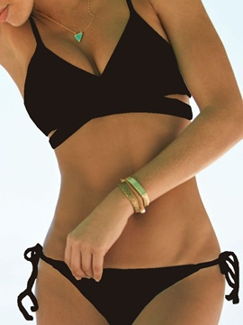 Plain Lace Up Hollow Bikini Set Swimwear