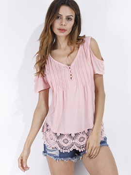 V Neck Cold Shoulder Lace T Shirt