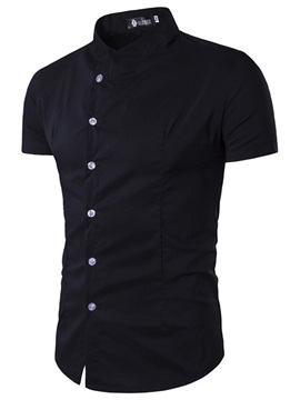 Plain Single Breasted Short Mens Shirt