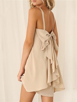 Sleeveless Bow Casual Womens Day Dress