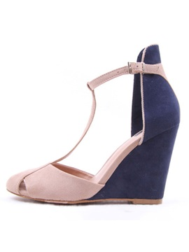 Faux Suede Hollow Closed Toe Womens Wedges