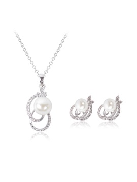 Cute Leaves Shaped Pearl Cross Alloy Ol Diamond Jewelry Sets