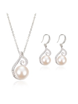 Arc Shaped Rhinestone Pearl Inlaid Bright Necklaces Earrings Jewelry Sets
