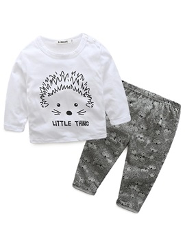 Hedgehog Printed Top And Fox Printed Pants Boys Outfit