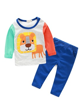 Simple Lion Printed Top And Solid Color Pants Boys Outfit