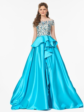 Exquisite Scoop Short Sleeves Appliques Sequins A Line Sweep Train Prom Dress