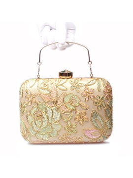 Graceful Embroidery Lace Pattern Evening Clutch
