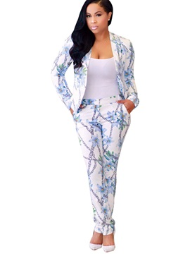 Print Long Sleeve Jacket Pencil Pants 2 Piece Sets