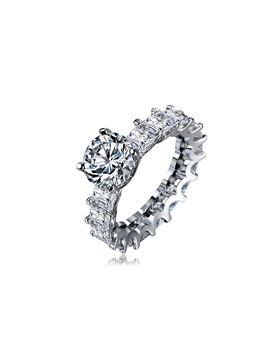 Silvering Zircon Princess Cut Romantic Simple Wedding Rings