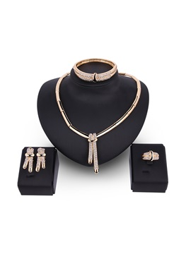 Bamboo Chain Rhinestone Tassel Alloy Shinning European Jewelry Sets