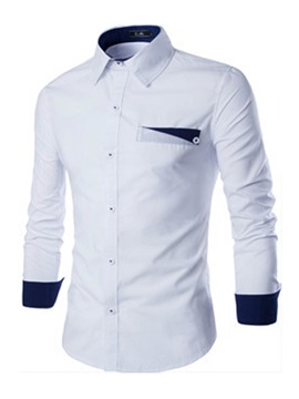 Lapel Slim Plain Long Mens Casual Shirt