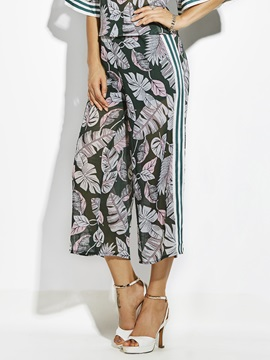 Loose Plant Print Wide Legs Womens Pants
