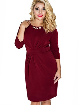 Multi Colored Round Neck Plus Size Bodycon Dress