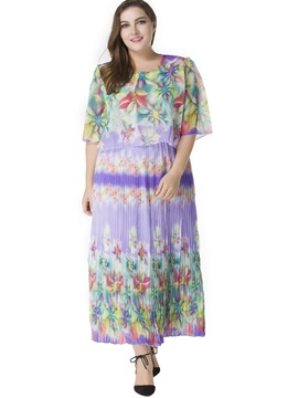 Petty Flowers Short Sleeve Plus Size Dress