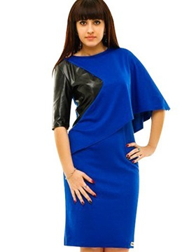 Patchwork Round Neck Zipper Plus Size Womens Bodycon Dress