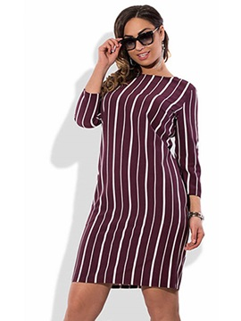 Vertical Stripes Long Sleeve Plus Size Short Day Dress