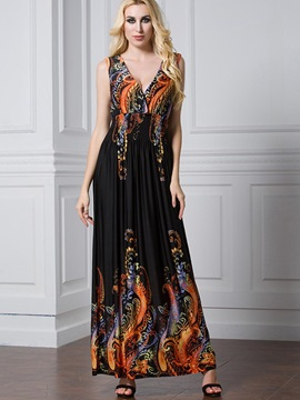 Sleeveless V Neck Floral Imprint Plus Size Maxi Dress