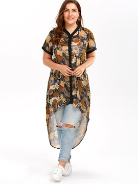 Plus Size Chiffon Irregular Blouse