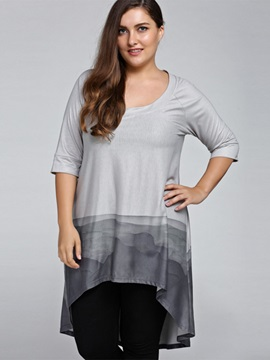 Plus Size Chinese Ink Half Sleeve Asym T Shirt