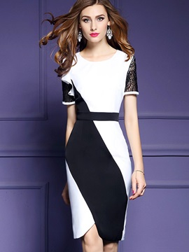 Elegant Color Block Short Sleeve Bodycon Dress