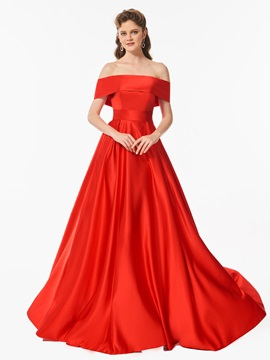 Fancy Bowknot A Line Off The Shoulder Sweep Train Prom Dress