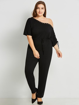 Plus Size Plain Slim Lace Up Jumpsuit
