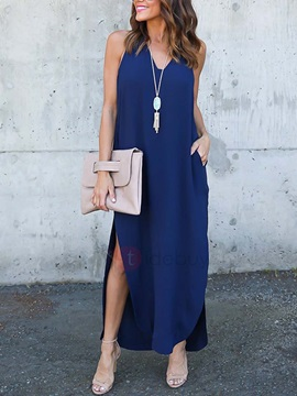V Neck Sleeveless Split Maxi Dress