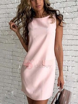 Straight Fit Sleeveless Womens Day Dress