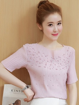 Chic Slim Chiffon Bead Blouse