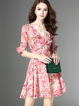 Chic Floral Imprint V Neck Short Day Dress