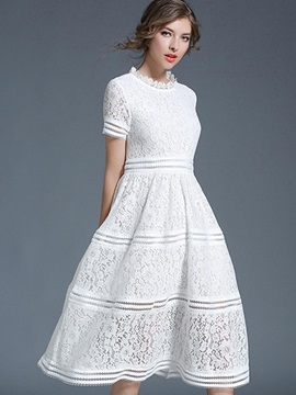 White Short Sleeve Womens Lace Dress