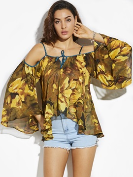Loose Flower Print Bell Sleeve Blouse