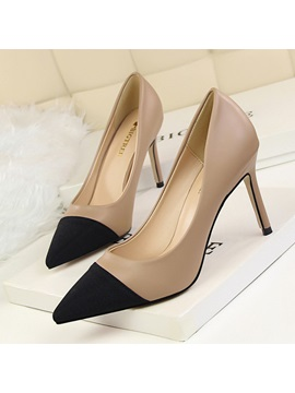 Pu Slip On Contrast Toe Slip On Stiletto Pumps