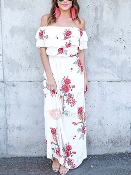 Flower Print Off Shoulder Maxi Dress