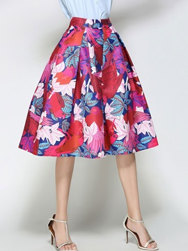 Print Retro High Waist Expansion Skirt